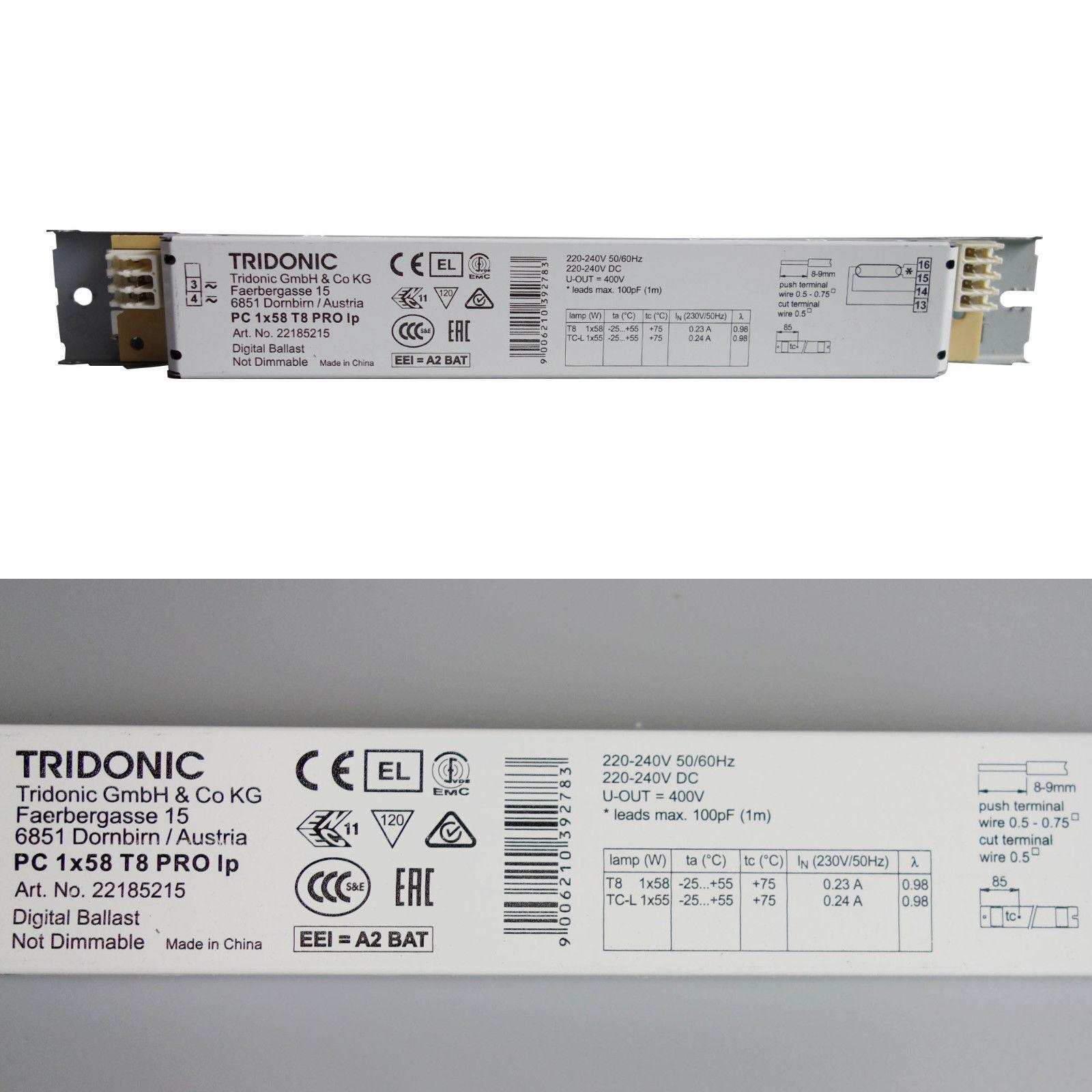 tridonic evg 58 watt t8 pro elektronisches vorschaltger t leuchtstofflampe. Black Bedroom Furniture Sets. Home Design Ideas